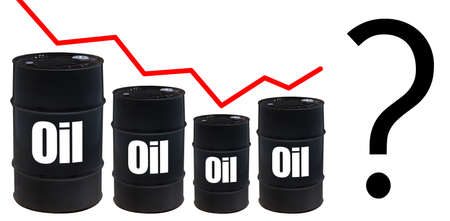 Barrels of oil are gradually reduced. Question mark after bounce chart. Dead cat bounce the cost of oil. Question mark on a white background. Recovery of value in the commodity market. Hydrocarbons
