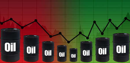 Dead cat bounce in the oil market. Oil futures trading. Concept - changes in petrolium prices. Growth of the DBO index on the stock exchange. Crude oil price increases. Schedule. Petrolium barrels