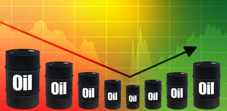 Oil price rebound after the fall. Concept - roll back the cost of crude oil. The falling chart began to grow. The inscription oil on black barrels. The concept is market recovery after the crisis.