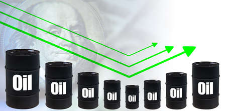 Schedule next to oil barrels. Concept - oil futures rebound. Concept - the price of crude oil. The price of hydrocarbons is rising after the fall. Commodity trading. Hydrocarbon price rebound