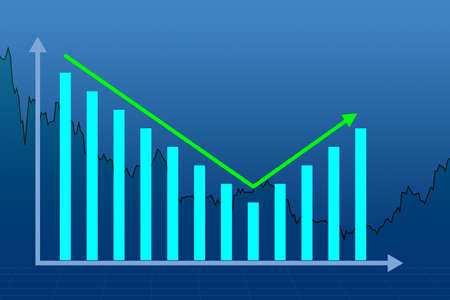 Charts symbolize a rebound in the market. Charts show growth again. The fall turned into growth. Concept - recovering of the economic situation. Charts on a blue background. Post-crisis rebound