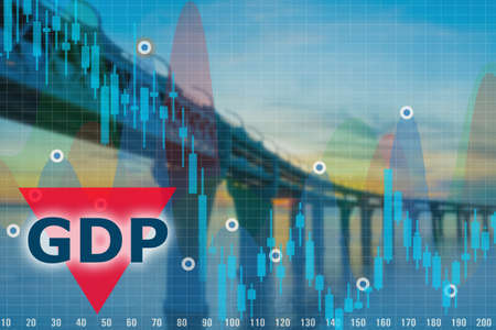 Graph declining GDP. Graph on the background of bridge over river. Bridge as a symbol of freight traffic. Concept - reduction in transportation led to a decrease in GDP. Negative financial outlook.
