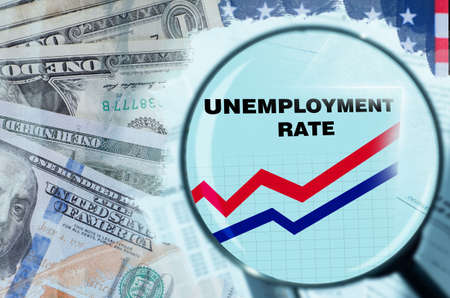 USA unemployment rate. Unemployment in America due to financial crisis. Magnifying glass over unemployment. Growth of applications for benefits. Company ruin led to layoffs. Dollars. Job loss in USA 版權商用圖片