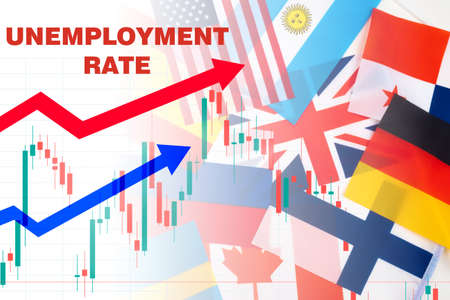 Unemployment rate in global. Unemployment infographic next to flags of different countries. Increase in number of unemployed in world. Global financial crisis has led layoffs. Labor market analytics