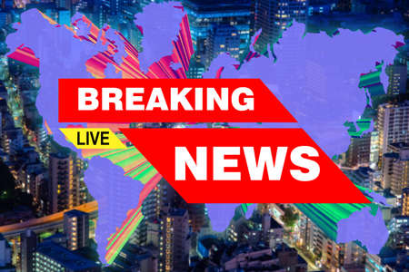 Inscription breaking news. Live Concept - urgent news reporting. Breaking news about what is happening in the world. Live on the tidings. Three-dimensional continents on the background of the city