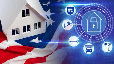 House safety in USA. Home security control panel. Layout of a cottage on American flag. Buttons for house safety control. Image of lock as a symbol of security. Comprehensive home protection in USA