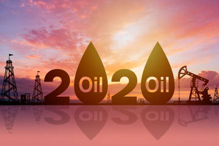Oil price forecast for 2020. 2020 logo surrounded by oil production symbols. State of the oil industry. Price of petroleum next year. Concept - petroleum export prices. Crude petroleum sales 免版税图像