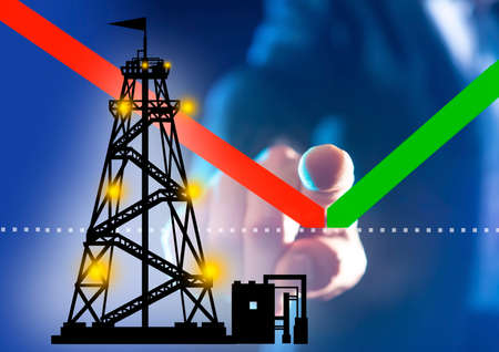 Cost of oil. Concept - oil price has bottomed out. Man shows the changes in the schedule. Silhouette of a drilling rig next to the schedule. Concept - beginning of rising oil prices. Finger. Rebound
