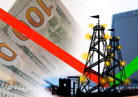 Oil price rebound. Schedule began to grow. Silhouette of a rig next to money. Concept - price of crude oil. Rollback value after a fall. Concept - online hydrocarbon exchange. Oil futures for sale