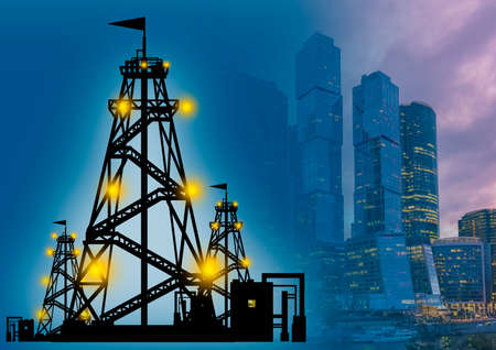 Oil producing corporations. Silhouette of a rig next to skyscrapers. Oil rig near high-rise buildings. Investments in the oil and gas sector. Moscow city. Russia. Concept - URALS petroleum.
