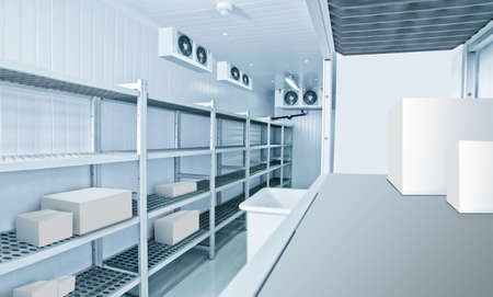Refrigeration chamber for food storage. Industrial refrigeration chamber with empty shelves. Luggage storage in the restaurant. Concept - sale of refrigeration equipment. Equipment for restaurants