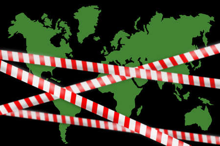 Closing borders due to quarantine. White and red ribbon as symbol of quarantine. Silhouette of continents on dark background. Concept - ban on travel world. Prohibition of movement within countries.