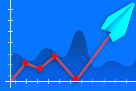 Graph indicators soared. Concept - rise of value. Graph symbolizes a sharp increase. Paper plane shows rise in inflation. Chart on a blue background. Fall turned into a sharp increase.