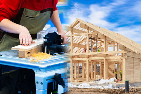 Woodworking. Joiner. Concept - carpenter in a construction company. Carpenter prepares beams for the frame of the house. Man works with a milling table. Carpenter next to the frame of the house. Girl