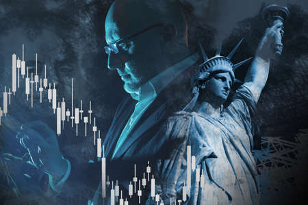 American investor. United States financier. Graph shows a stock market crash. Man in a business suit next to statue of liberty. Statue of Liberty a symbol of America. Concept - male exchange trader