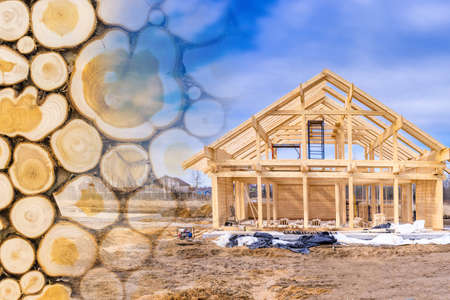 Building a house made of wood. Construction of a frame house. Cottage frame on a summer day. Concept - services of builders. Concept - sale of lumber for builders. Tree trunks close up. Zdjęcie Seryjne