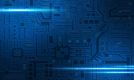 PCB background. Background is composed of a blue circuit board. Texture on theme of electronics. Dark blue pattern with PCB elements. Glare on the PCB. Concept - circuit board design.