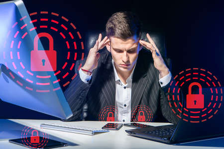 Man was thinking about something. Concept - he forgot passwords from devices. Businessman cannot unlock his devices. Lock sign as a lock symbol. Businessman remembers password for access. Stock fotó