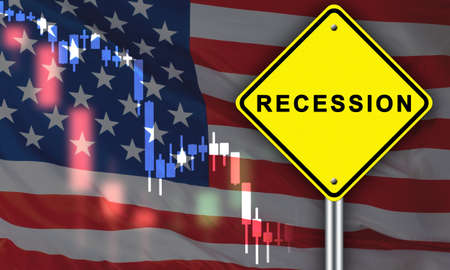 Recession chart on background of USA flag. Recession logo is depicted on a yellow sign. Manufacturing recession in America. Concept - falling production led to falling economy. Decline in GDP growth