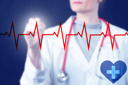 Cardiogram. Heartbeat line on background of doctor. Doctor card analyzesiogram. Concept - work of a cardiologist. Heart analysis. Human heart disease. Career cardiologis. Heart disease treatment Stockfoto