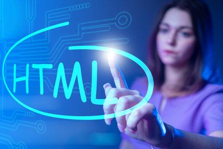 HTML code. Woman drew HTML on virtual screen. Website developer HTML5. Website development. Work website developer. Girl programmer web application. Programmer career. HyperText Markup Language
