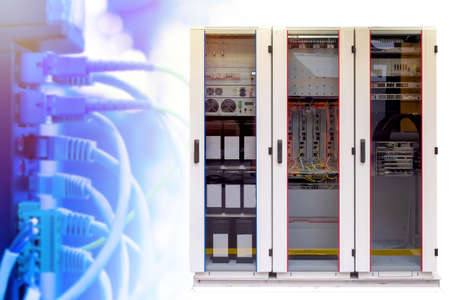 Network hardware. Internet setup in companies. Concept - server cabinet at the enterprise. Network setup in the company. Concept - sale of server stations. Administration of corporate networks.
