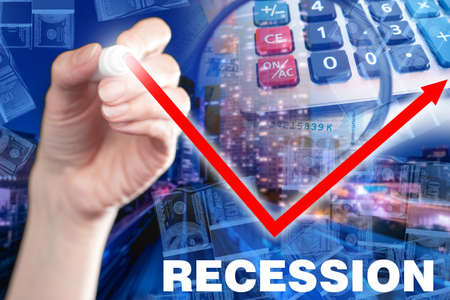 Recession in economy. Inscription recession next to symbols of financial market. Calculator and money as a symbol of economy. Recession logo next to chart. Fall turned into growth. Economic forecast