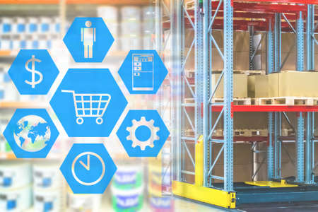 Warehouse online store. Icons symbolizing online store. Icon with a basket on background of warehouse. Warehousing services for online store. Concept internet shop operates worldwide. Sorting center Foto de archivo