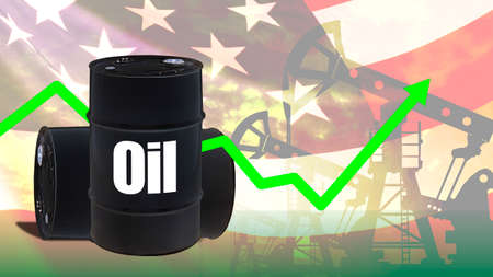 WTI. Price American oil is rising. Concept - shale oil production growth. West Texas Intermediate oil. Black barrels of nafony of USA flag. Concept - graph shows forecast for fuel imitation. Flag US