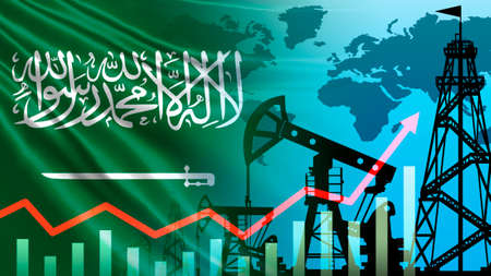 Saudi Arabia. Increase in oil reserves. Concept - rise in crude oil prices. Graph shows an increase in risk. Pumps in petroleum field. Concept - oil production by Saudis. Chart shows demand growth. Archivio Fotografico