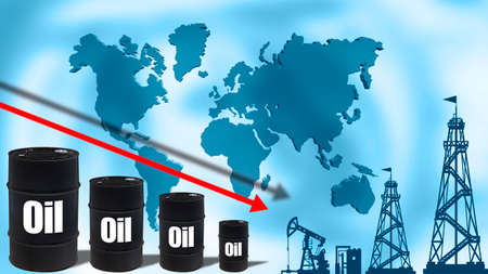 Falling oil prices due to increased production. Concept - decrease in growth against backdrop of increased competition. Oil barrels symbolize the falling market. Silhouettes of continents. Oil rigs.