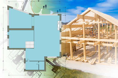 Construction. Concept - choice of layout of rooms in house. House plan shows layout of rooms. Concept - services of architectural bureau. Wooden frame of house is almost completed. Topographic plan
