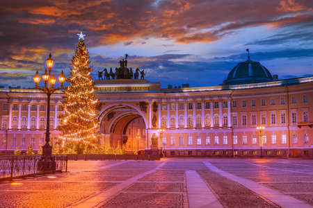 Christmas In St. Petersburg. Christmas tree on Palace Square. Christmas tree on the background of arch of the General Staff. New Year street decorations. View of New Year Petersburg without people
