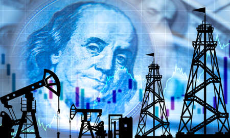 Crude oil prices. Concept - graph shows price increases. Recovery of the cost of petroleum products. Oil derricks. Silhouettes of oil pumps on the background of Franklin. Hydrocarbon exchange. Stock Photo