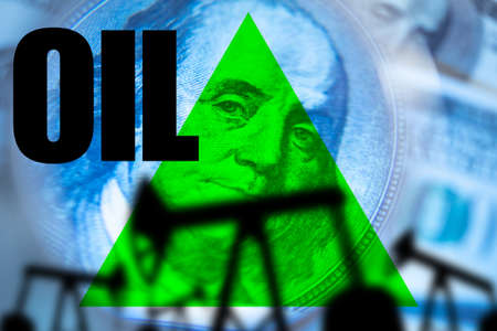 Rising oil prices. Green arrow next to the oil logo. Concept - rebound in the cost of hydrocarbons. Crude oil price increases. Arrow points up on the background of Franklin portrait. Rollback cost
