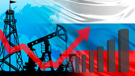 Oil field in Russia. Concept - Urals brand oil. Increase in prices Russian petroleum. Charts show revenue growth. Concept - increase of inventory in storage. Rossia flag. Increased oil consumption