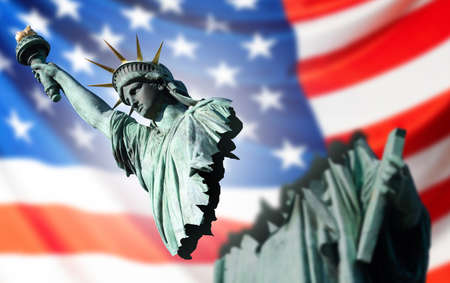 US crisis. Problems of the American economy and politics. The broken Statue of Liberty on the background of the American flag. News from America. The situation in the United States of America.