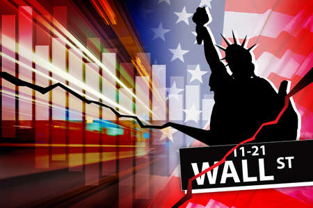 Problems of the stock market in the USA. The stock crisis in the United States. Sign of the financial center of America on Wall Street against the cracks. Statue of Liberty and graphics with cracks.