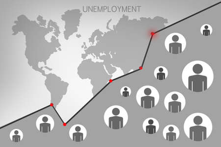Rising unemployment around the world. Graph of unemployment against the background of the world map. Gray background about the crisis in the labor market. A sharp reduction of jobs in the world.