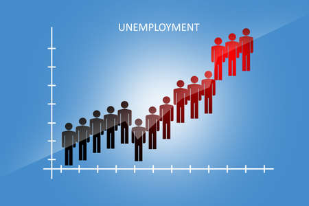 Graph of unemployment growth on a blue background. The increase in the number of people out of work is clearly visible. Crisis in the labor market. Massive layoffs of employees.