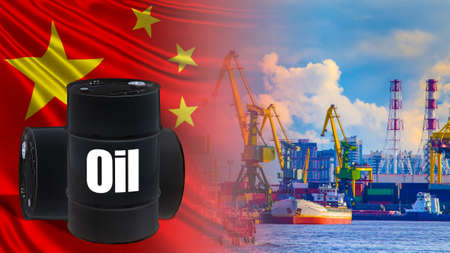 Crude petrolium supply to China. Oil barrels on the background of Chinese flag. Concept - transportation of oil to China. Delivery to PRC by sea. Cargo port China for oil unloading. Marine terminal