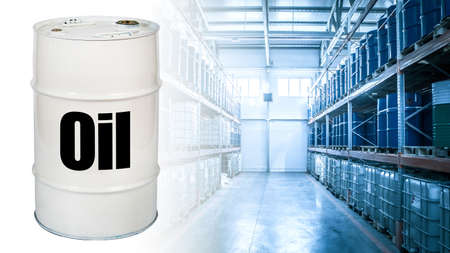 Barrels of oil are stored on shelves. Oil logo on a white barrel. Concept - the chemical industry. Warehouse of oil products. The passage between the shelves with petrolium. Multi-storey shelving.