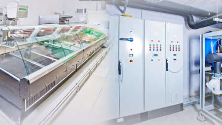 Refrigerated counters. Empty refrigerated counters. Concept - sale of refrigerated display cases. Shield for controlling refrigeration equipment. Wardrobe for setting refrigeration equipment. Motor
