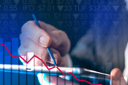 Stock collapse on phone manipulation background. Businessman control stock market direction. Broker buys stocks during fall. Short positions in trading. Manipulating short positions in investments
