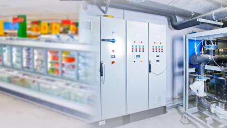 Refrigeration chamber for food storage. Industrial refrigerator at the catering facility. Equipment for cooling products. Switchboard. Cabinet to control the cooling chamber. Shelf Products