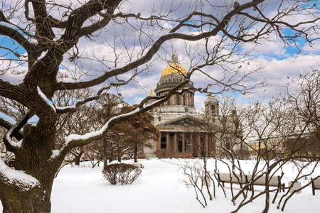 St. Isaac's Cathedral in Saint Petersburg. Russia winter. Snow on Isakievskaya Square. Winter in St. Petersburg. Winter landscape of Saint Petersburg. Cities of Russia.
