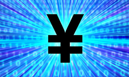 Japanese yen currency sign. Yen  on a blue background. Binary code next to Japanese currency symbol. Concept - buying Japanese money online. Purchase of Yen on Internet exchange. Stockfoto