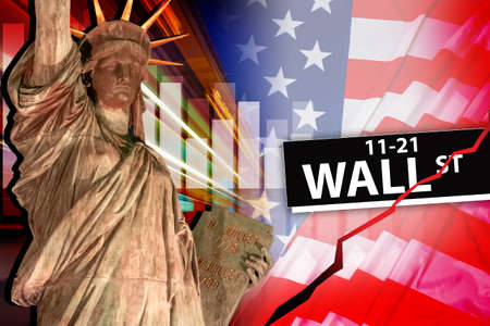 Confrontation of private investors with Wall street concept. Wall street sign on background of American flag. Wall street investors have problems. Private investors versus big traders. Stockfoto