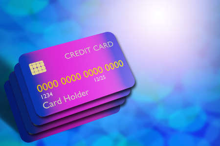 Several abstract credit cards. The problem of debt repayment. Different lending options. The creditworthiness of the population. Too many credits. A place for text next to credit cards. 3d rendering