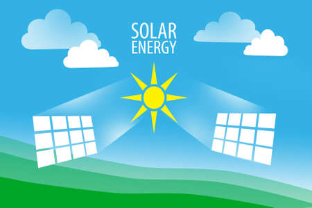 Use of solar energy. Eco-friendly energy sources. Rational use of natural resources. The sun and solar panels on a natural background. Resource saving concept.